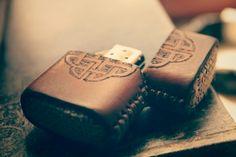 Handmade leather zippo lighter case