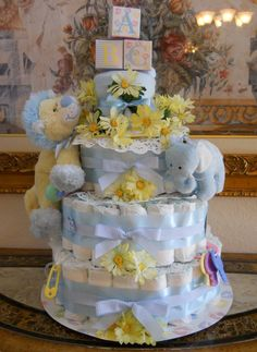 My first Baby Boy Diaper Cake (Front)