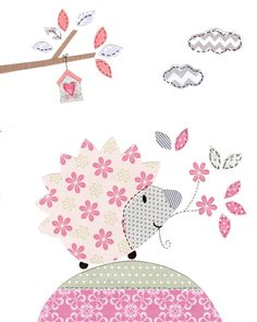 Elephant and Owl Nursery Art Pink and Gray Nursery by SnoodleBugs