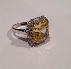 Vintage Sterling Silver Yellow Diamond Estate Jewelry Ring, via Etsy.