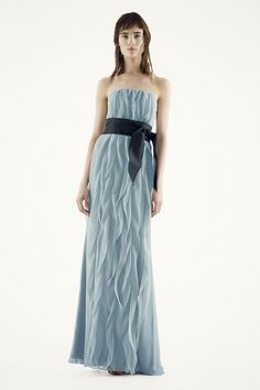 White by Vera Wang - MORE COLORS Strapless Crinkle Chiffon Dress with Mikado Sash Style VW360102 $188.00