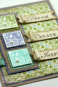 very pretty, nice color combination. Stamp on BT, STAMP words, distress, layer. Love it all.