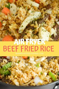 Make this delicious Air Fryer Beef Fried Rice that can also be made gluten-free in just 20 minutes without any oil using the air fryer! This is made with Great Day Farms Hard-Boiled Eggs from Walmart! Air Fryer Dinner Recipes, Air Fryer Recipes, Lunch Recipes, Easy Dinner Recipes, Beef Fried Rice, Fried Rice With Egg, Slow Cooker Recipes, Beef Recipes, Ninja Recipes