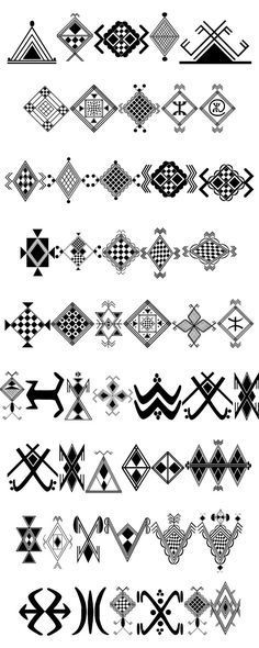 Berber Symbols - Kabyle Berber culture belongs to a cultural group that includes the Chaouis, the Tuareg, the Chenouis, Mozabites and other North African Berbers. Henna Designs, Arabesque, Trendy Tattoos, New Tattoos, Berber Tattoo, Navajo Tattoo, African Symbols, Native Symbols, Adinkra Symbols