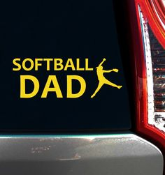 Buy Softball Dad Pitcher Window Decals and support the team! Cheer for your softball pitcher with a fun softball dad decal on your car window. Made in the USA.