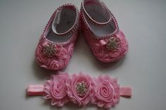 Pink baby shoes Baby Girl Pink Satin Rosette Crib by AmazinGems, $26.90