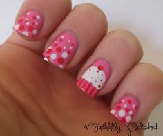 Today's theme of the Valentine's Day Nail Art Challenge  is Sweet Treats. At first, I wanted to do the conversation hearts, but figured t...