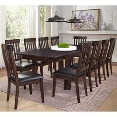 """Asheville 11-piece Dining Set - 2 leaves 18"""" - Costco"""