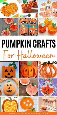 30 Fun Pumpkin Halloween Crafts For Kids – This Tiny Blue House - Kids halloween Halloween Crafts For Toddlers, Toddler Crafts, Halloween Kids, Preschool Crafts, Diy Crafts For Kids, Halloween Pumpkins, Fun Crafts, Toddler Stuff, Craft Ideas