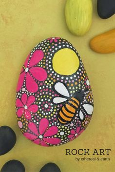 ROCK ART by ethereal & earth - otherworldly & of this world creations - Hand Painted Rock with Floral & Bee Motifs with Mandala Inspired Design. FREE US SHIPPING!