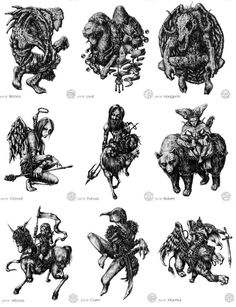 Drawings of Goetic entities