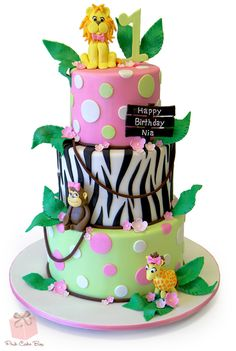 Nia's First Birthday Jungle Cake by Pink Cake Box Jungle Birthday Cakes, Jungle Cake, Custom Birthday Cakes, Birthday Cake Girls, Custom Cakes, Jungle Theme, 3rd Birthday, Birthday Ideas, Zebra Print Cakes
