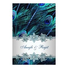 Indian Wedding Invitations Royal Blue Silver Indian Peacock Reception Cards