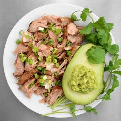 50-hour sous vide carnitas with guacamole on the side. Paleo, Gluten-free