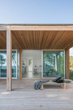Minimalism Living, Larch Cladding, Chief Architect, Swedish House, Wood Patio, Floor To Ceiling Windows, Interior Exterior, Interior Design, Detached House