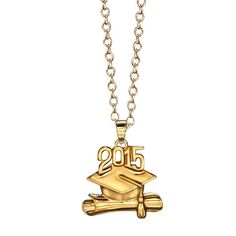 "Celebrate your graduate's special day with this beautiful 18K gold-plated sterling silver 2015 pendant and chain set. · Pendant: Approx. 3/4"" · Chain: adjusts from 17"" to 19"" L · Imported"