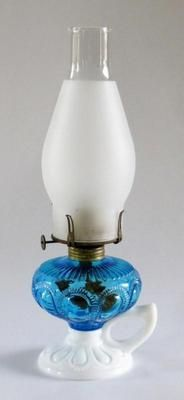 IMPERIAL SAPPHIRE BLUE ZIPPER LOOP HAND/FINGER OIL/KEROSENE LAMP~MILK GLASS BASE