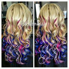 Mermaid hair, colorful ombre, Bellami hair extensions, voilet blue pink pavana colors