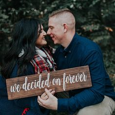 Engagement Photo Prop - Rustic Wedding Decor - Wedding Date Sign- We Decided on Forever Sign - Save the Date Sign - Wedding Photo Sign Engagement Photo Prop Rustic Wedding Decor Wedding Date Funny Engagement Photos, Winter Engagement Pictures, Engagement Photo Props, Engagement Signs, Country Engagement Pictures, Engagement Humor, Engagement Photo Inspiration, Engagement Photography, Engagement Announcements