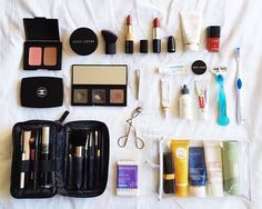 Travelling (very very) light — Creation of Style As for toiletries, I'm pretty low maintenance. I have a separate make up case always packed for travel, and my toiletries case is a transparent case filled with small travel sized containers.