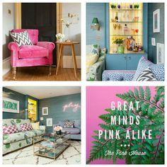 Bedroom Colour Palette, Bedroom Colors, Casa Decor 2017, Spanish Interior, Green Sofa, Pink Houses, Colour Palettes, Paper Decorations, Color Inspiration