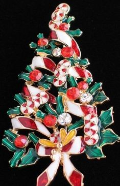 """RHINESTONE GARLAND CANDY CANE PEPPERMINT CHRISTMAS TREE PIN BROOCH JEWELRY 2.5"""" #Unbranded"""
