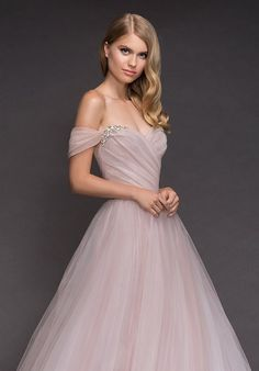 Style 1809 Milo Blush by Hayley Paige bridal gown - Hydrangea draped tulle bridal ball gown, sculpted sweetheart bodice, removable off-the-shoulder embellished cap sleeve, full tulle skirt. Formal Dresses For Weddings, Used Wedding Dresses, Wedding Dress Sizes, Designer Wedding Dresses, Bridal Dresses, Wedding Gowns, Blue Weddings, Spring Weddings, Tulle Wedding