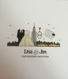 New York Wedding invitation New York Wedding, Our Wedding, New York Theme, Theme Ideas, Wedding Invitations, Masquerade Wedding Invitations, Wedding Invitation Cards, Wedding Announcements, Wedding Invitation Design