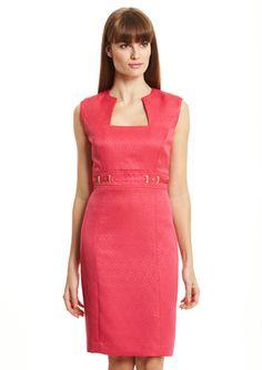 TAHARI ARTHUR S. LEVINE Petite Square Neck Dress with Waist Detail