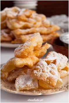 Faworki z mascarpone - I Love Bake Onion Rings, Food Design, Apple Pie, Waffles, Biscuits, Food And Drink, Cooking Recipes, Cupcakes, Sweets