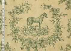 """Thibaut tissu cheval or vert toile destash 47 """"de Brick House Tissu: Tissu Nouveauté"""