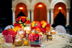 Colorful low centerpiece Low Wedding Centerpieces, Colorful Centerpieces, Diwali Flowers, Bloom, Table Decorations, Vintage, Home Decor, Colorful Wedding Centerpieces, Decoration Home