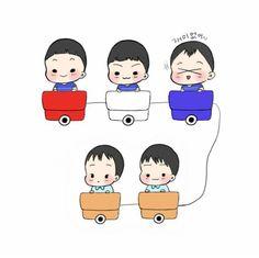 triplet and twins Korean Variety Shows, Korean Shows, Song Il Gook, Man Se, Song Triplets, Song Daehan, Cute Twins, Superman, Fan Art