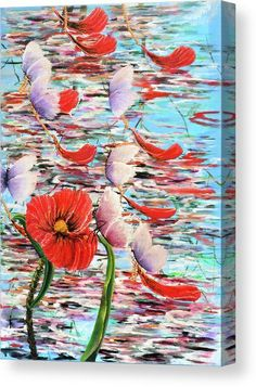 Acrylic Oil Mixed Media Art Abstract  Colorful Beautiful Water Reflections Pond River Butterfly Red Green Blue Poppy Leaf Leafs Swim Swimming Flying Chains Golden Flying Float Floating Canvas Print featuring the painting Butterfly River by Medea #fantasyart #artprint #colorful #walldecor #colorfulart #fineart #fineartprint #art  #artgallery #artwork #homedecor #decor #giftideas #gallery #artideas #painting #giftidea #artlover #arte Fine Art Amerika, Gadgets, Unique Wall Decor, Canvas Prints, Art Prints, Lovers Art, Original Artwork, Street Art, Tapestry