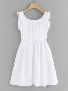 Shop Frill Trim Knot Back Dress online. ROMWE offers Frill Trim Knot Back Dress & more to fit your fashionable needs. Simple Dresses, Cute Dresses, Casual Dresses, Short Dresses, Girls Dresses, Summer Dresses, Casual Outfits, Girly Outfits, Dress Outfits