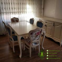 Meja Makan Minimalis Warna Putih Dari Kayu Berkualitas – Home Decor Furniture Dining Room, Dining Table, Home Living Room, House Colors, Shabby Chic, Bedroom, Modern, Furniture, Design
