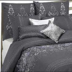 Fabric Color for Headboard - Weddingbee Dream Bedroom, Master Bedroom, Bedroom Decor, Comforters, Duvet Covers, Blanket, Grey Duvet, Fabric, Dark Grey
