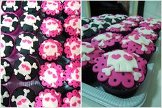 Valentine Skull and Crossbone Cupcakes - idea only