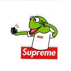 Supreme Wallpaper: Kermit Taking Selfie Supreme Sticker – Mercari: The Selling App Supreme Art, Supreme Logo, Macbook Decal Stickers, Logo Sticker, Frog Wallpaper, Graffiti Wallpaper, Wallpaper Art, Supreme Sticker, Iphone Cases Disney