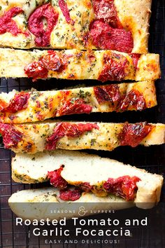 Delicious, thick and light roasted tomato and garlic focaccia. Easy to make and lovely served with an olive oil and balsamic dip. Yeast Bread Recipes, Scd Recipes, Cooking Recipes, Savoury Recipes, Ricotta, Kentucky Fried Chicken, Sicilian Recipes, Sicilian Food, Breads