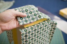 How to neatly cover a cardboard box with fabric