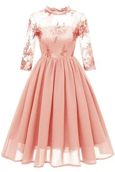 Embroidery Women Casual Dress Lace High Neck Sleeve Hollow Out Slim A-Line Work Office Party Dress salmon Elegant Midi Dresses, Pretty Dresses, Beautiful Dresses, Mesh Dress, Chiffon Dress, Lace Dress, Lace Chiffon, Cheap Summer Dresses, Casual Dresses For Women