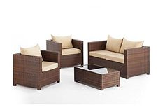 Our brown rattan Settee set features a seater Settee, armchairs and a pitcher…