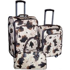 $299.00 cow print luggage  REALLY REALLY WANT THESE!!