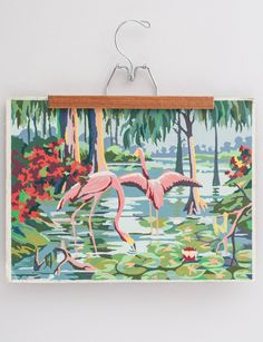 Vintage 1950's Pink Flamingo Paint-By-Number.