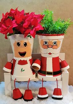 Claus Clay Pot People Christmas Planter and candy bowl , Mrs. Claus Clay Pot People Christmas Planter and candy bowl Flower Pot Art, Flower Pot Design, Clay Flower Pots, Flower Pot Crafts, Clay Pot Projects, Clay Pot Crafts, Holiday Crafts, Shell Crafts, Christmas Planters