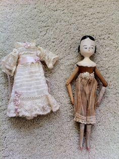 Antique Peg Wooden Penny Dutch Doll Side Curls in Antique Beautiful Lace Dress | eBay