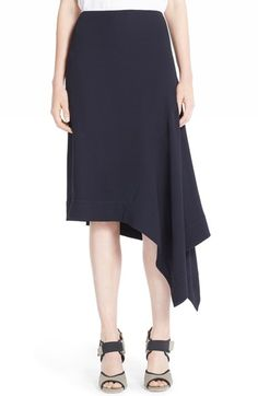 MARNI Asymmetrical Crepe Back Satin Skirt. #marni #cloth #