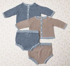 Sticka söta bebiskläder – beskrivning på randigt set | Allas.se Textiles, Baby Cardigan, Knitting For Kids, Baby Wearing, Bikinis, Swimwear, Knit Crochet, Bodysuit, Children