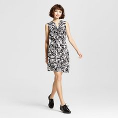 Women's Pattern Sleeveless Shirt Dress with Piping Black Leaves Xxl - Mossimo